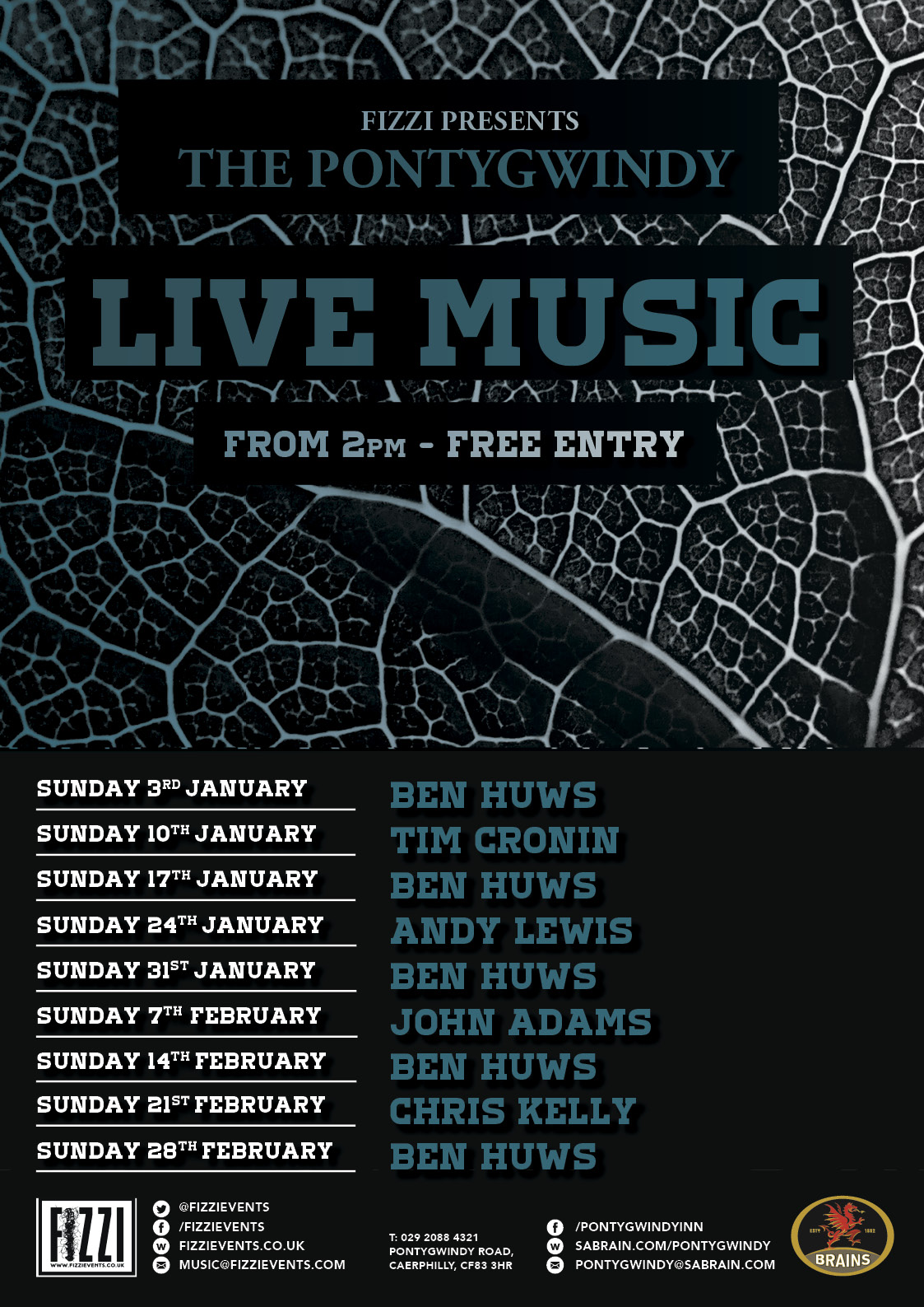 The Pontygwindy: January and February Live Music